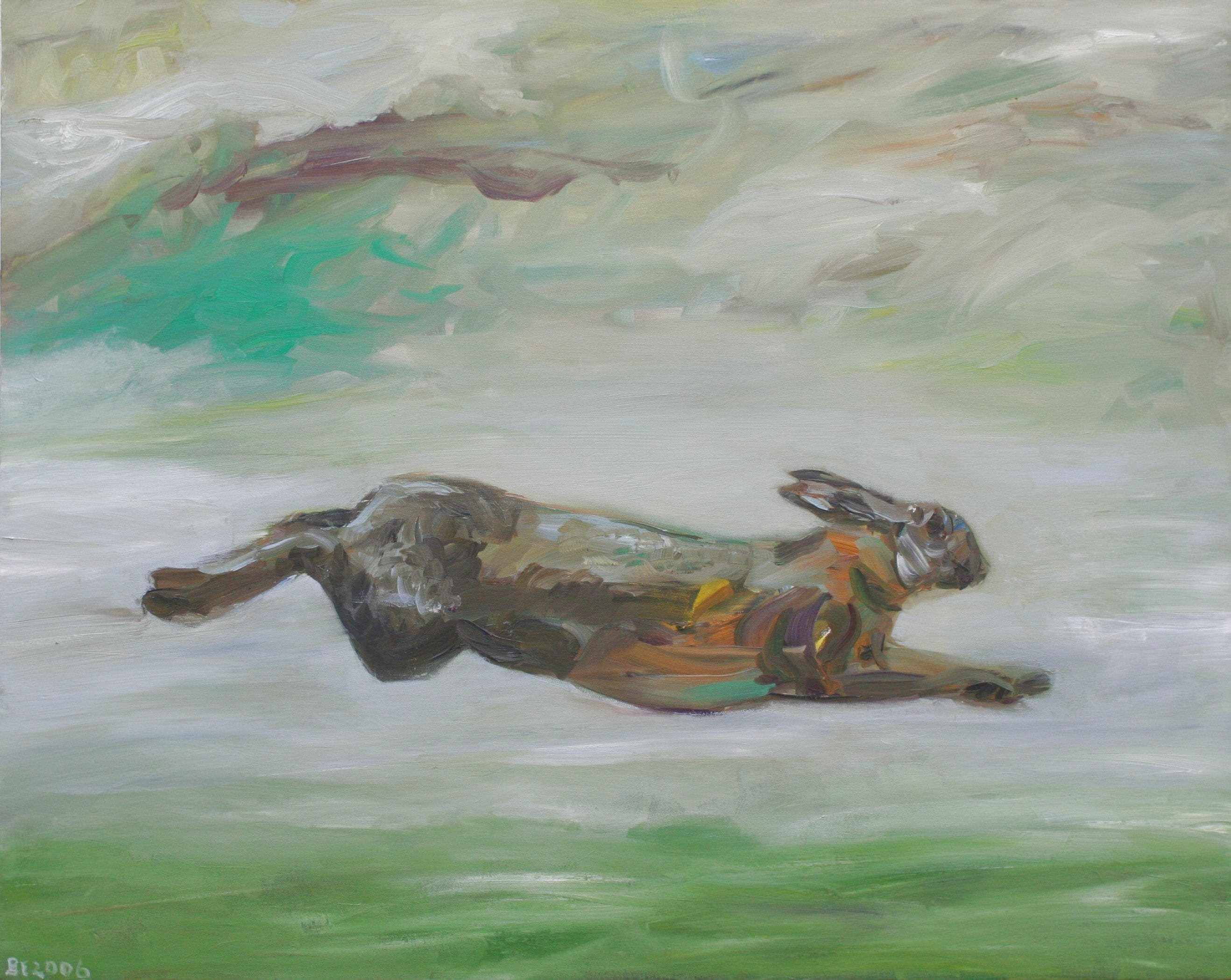 Sabine Beckmann, Hare Jumping out of Time, oil on linen, 80 x 100 cm, 2006