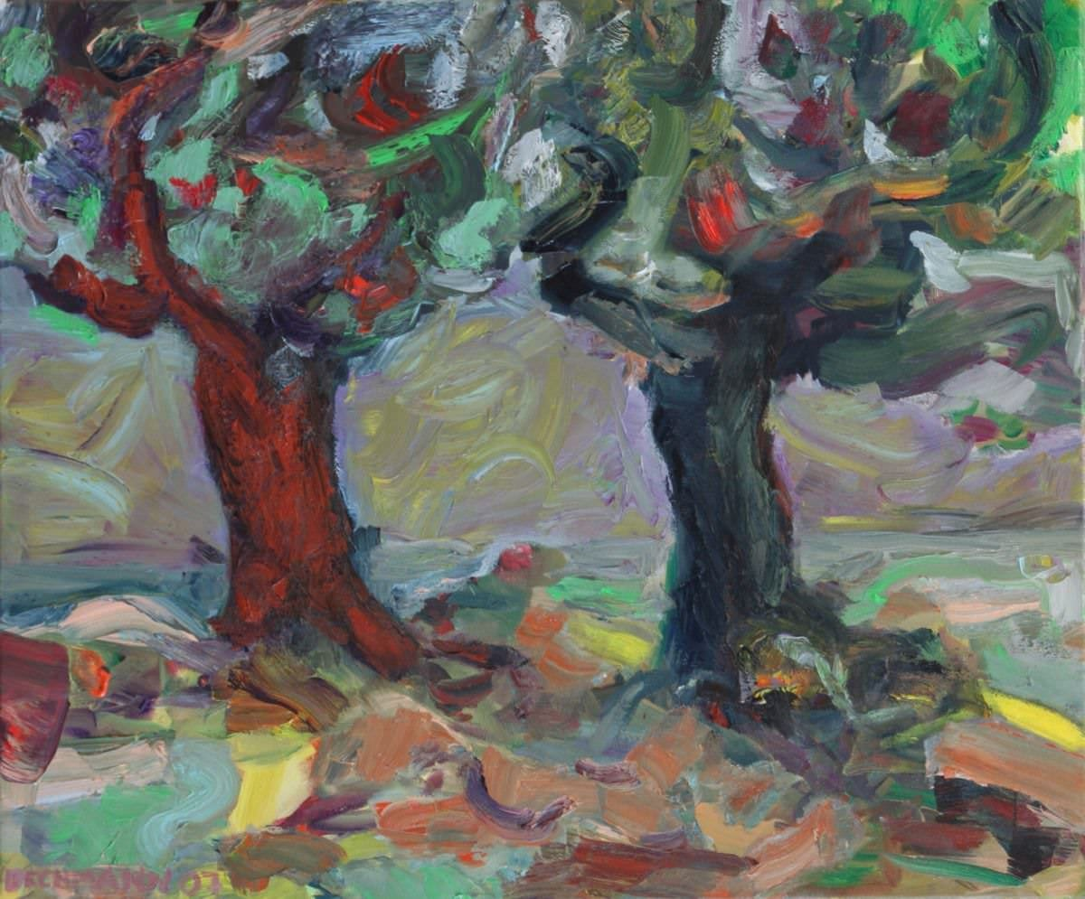 Sabine Beckmann, Two Trees, oil on linen, 50 x 60 cm, 2007